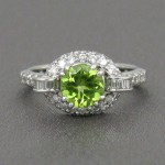 Peridot 1.36 Carat and Diamonds 18K White Gold