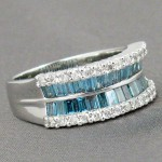Blue-Green and White 1.87 Carat Diamonds 14K White Gold
